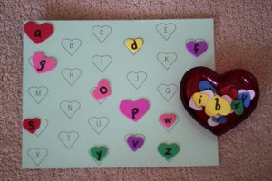 heart theme learning alphabet