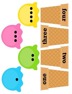 ice cream theme number match printables