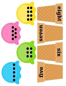 ice cream theme number matching activity
