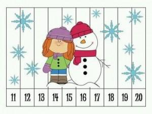 number puzzle snowman