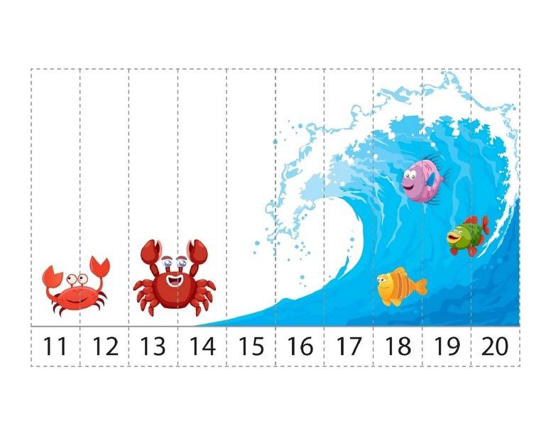 Ocean Animals Math Activities Sequence Puzzle on Numbers Worksheets Free Homeschool Preschool