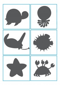 ocean animals shadow matching