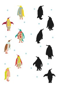 penguin printables shadow  matching