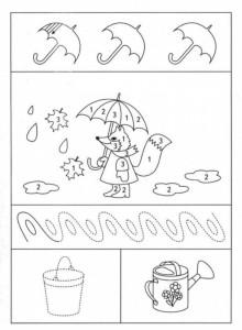 preschool tracing line and coloring rain