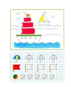 preschool tracing line and coloring ship