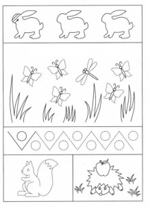 preschool tracing line and coloring spring