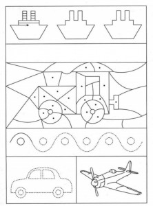 preschool tracing line and coloring vehicles