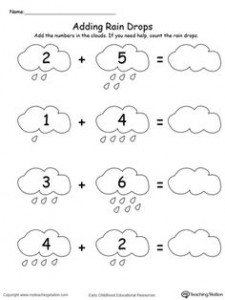 rain addition worksheets