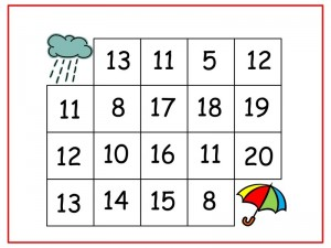 rain number maze  worksheets