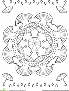 rain theme mandala worksheets