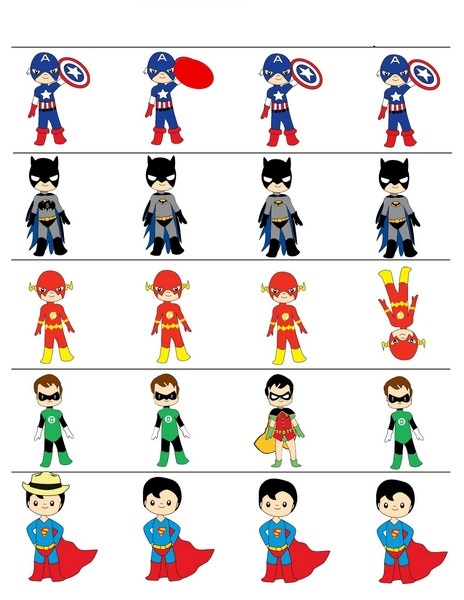 superheroes worksheets difference