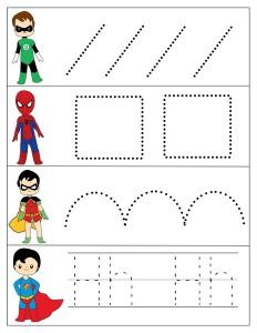 superheroes worksheets line