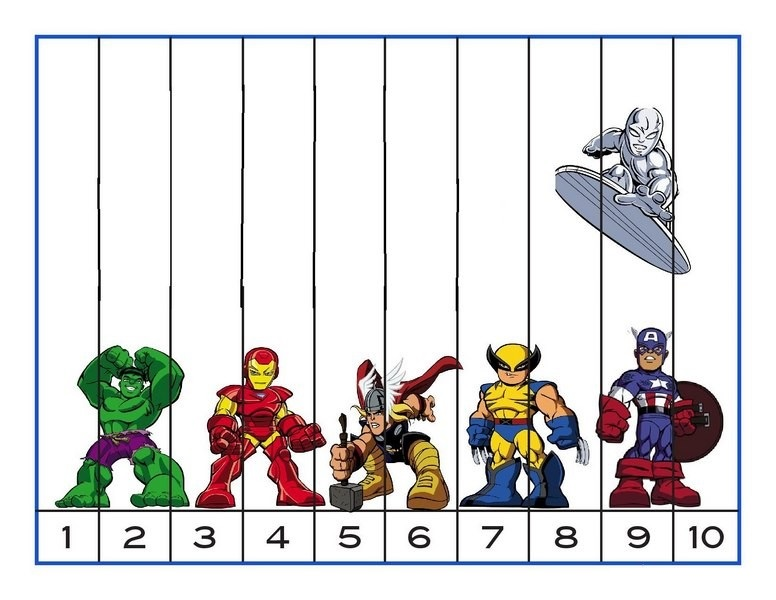 superheroes worksheets squence