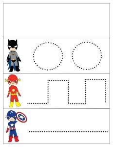 superheroes worksheets tracing