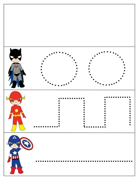 superheroes worksheets tracing « Preschool and Homeschool