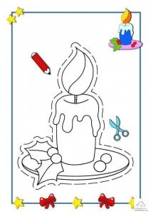tracing line and coloring candle