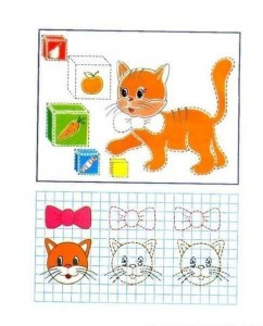 tracing line and coloring cats and box