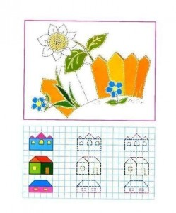 tracing line and coloring garden