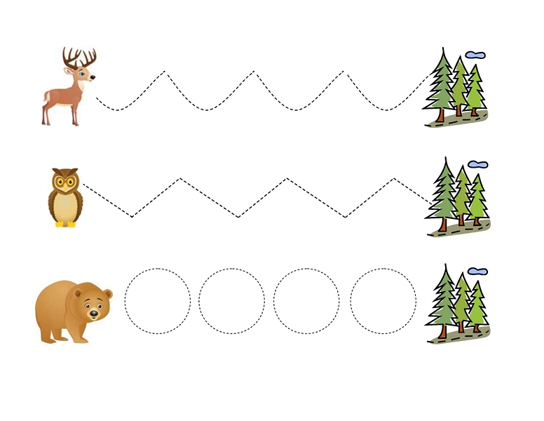 Tracing Line Forest Animals on first grade clock worksheets