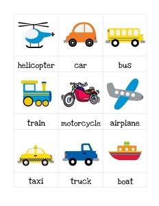 transportation printables cards