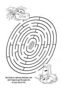 Lightning Mcqueen maze worksheets