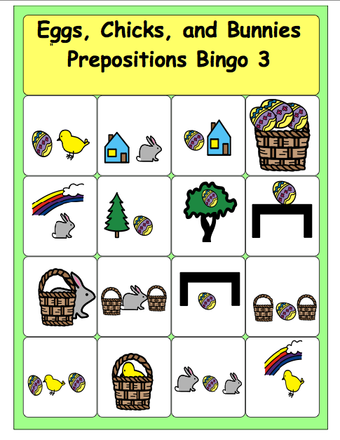 Prepositions bingo cards for k ds