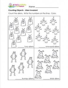 alien counting worksheets