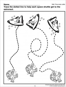 astronaut trace worksheets