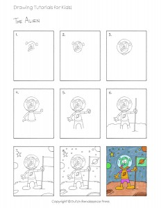 In this easy drawing tutorial for kids, students will learn how to draw an alien.