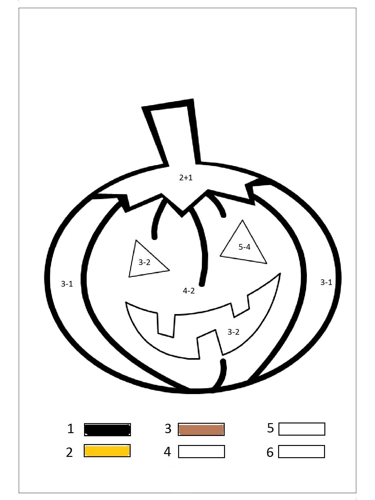pumpkin color by number preschool and homeschool. Black Bedroom Furniture Sets. Home Design Ideas