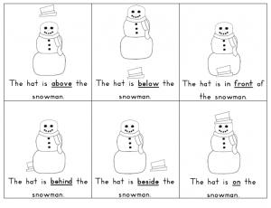 snowman Prepositions Lesson Worksheets