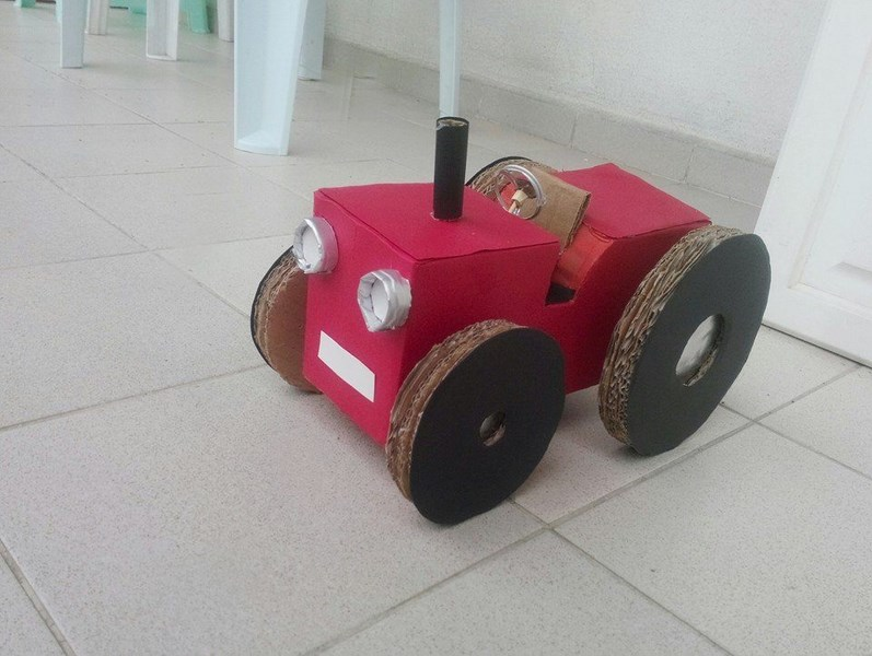 Photo of Play tractor made from cardboard boxes