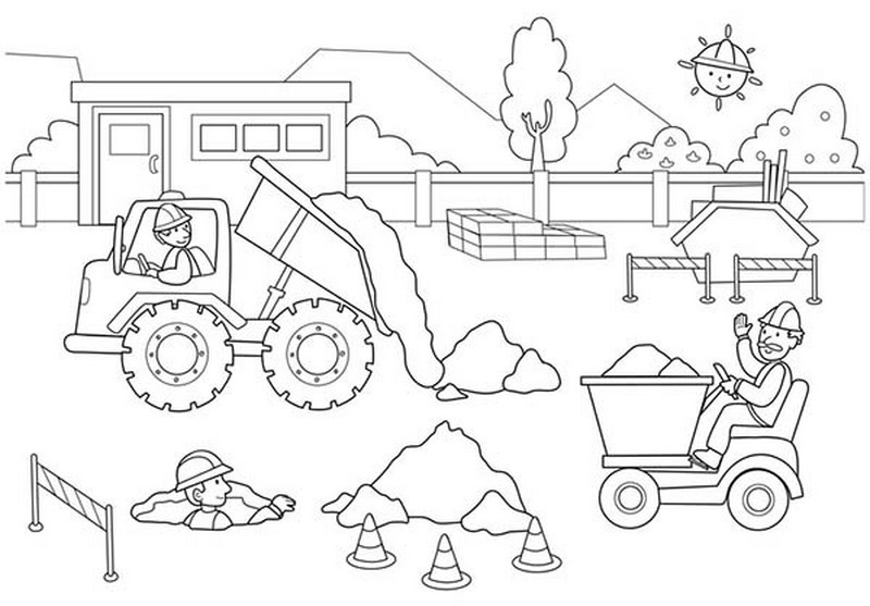 construction coloring pages construction coloring pages kidstoddlers 6 - Construction Worker Coloring Page