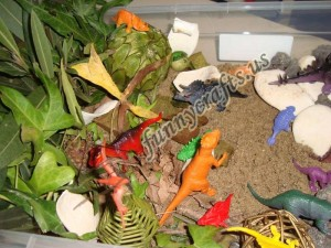dinosaur swamp sensory bin activity for kids