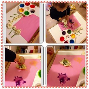 finger-print techniques for flower craft activities