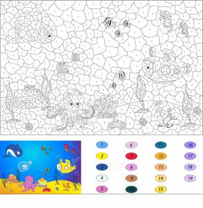 Fish Color By Number Coloring Pages 6