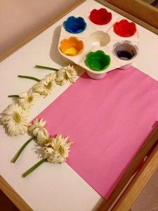 flower printing  painting activities for kids and toddlers