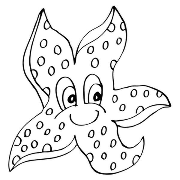 Starfish Coloring Pages Happy 1