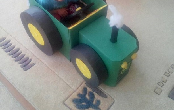 how to make a tractor with recycled materials