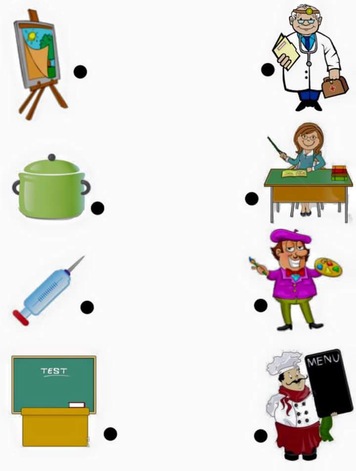 jobs matching worksheets for k ds