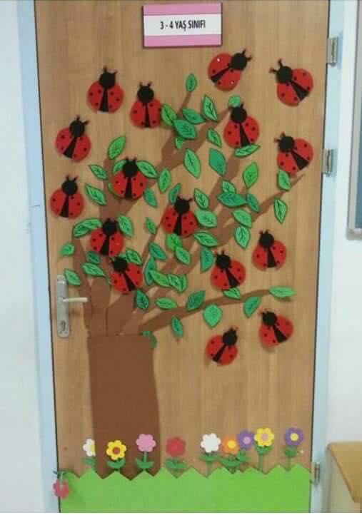 Ladybug spring door decoration preschool and homeschool for Art and craft for classroom decoration