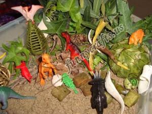 outdoor dinosaur sensory bin for kids