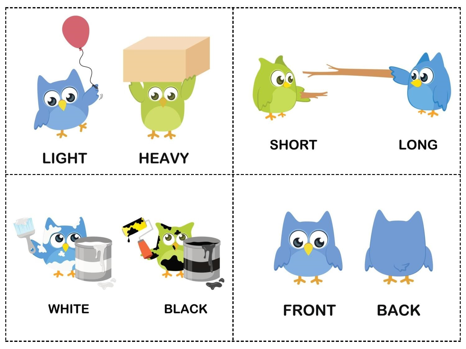 Owl Theme Opposites Cards 2 171 Preschool And Homeschool