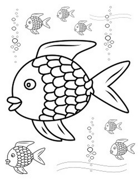 Fish Coloring Pages For Kids Rainbow