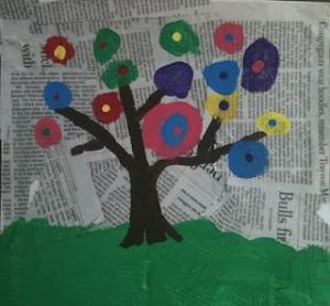 reusing newspaper for a kid's project