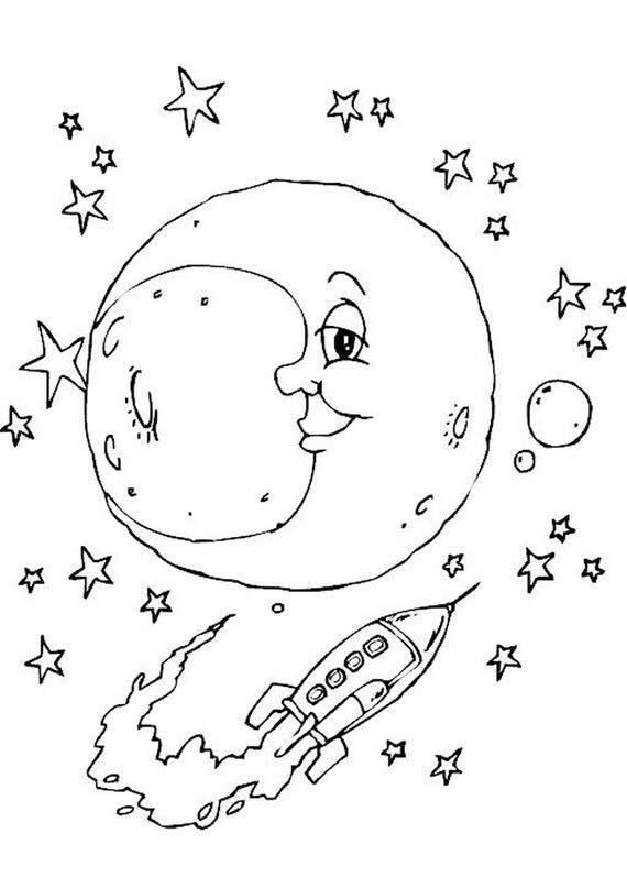 Space moon coloring preschool and homeschool for Moon coloring pages for preschoolers