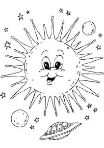 space sun coloring pages