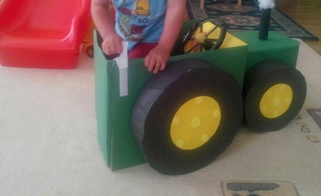 tractor made from cardboard
