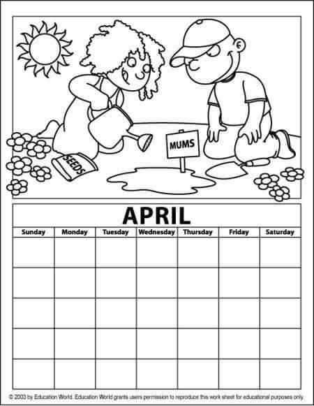April Coloring Pages Preschool : April calendar coloring page � preschool and homeschool
