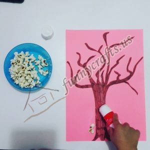 fall popcorn tree craft for preschoolers